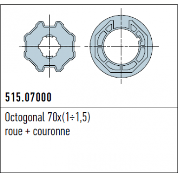 ADAPTATION ROUE ET COURONNE OCTO70 POUR MOTEUR ERA M Reference NI51507000 Adaptations Nice NICE