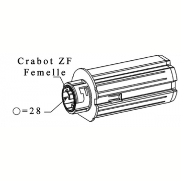 EMBOUT ESCAMOTABLE ZF 64 CRABOT FEMELLE - PORTE ROULEMENT