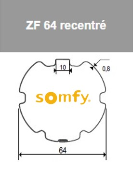 Roue Couronne Zf64 Recentre D50 Sy9410400 Adaptations Somfy