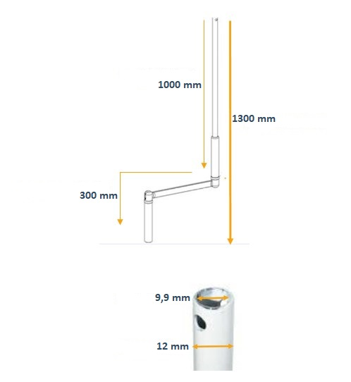 MANIVELLE articulée pour volet roulant RAL 9010 Blanc pour tube ø12 mm F301B