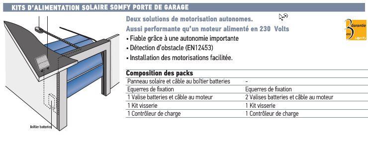 KIT ALIMENTATION SOLAIRE SOMFY PORTE DE GARAGE SY9015859 Porte De Garage  Basculante / Sectionnelle