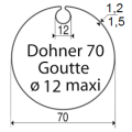 Visuel 2 ROUE + COURONNE DOHNER 70 GOUTTE Ø12 MAXI Reference SY9410313 Adaptations Somfy SOMFY
